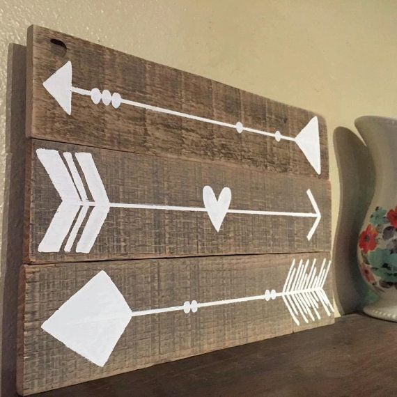Arrow Pallet Sign Reclaimed Wood Tribal Sign by RestoreandSparkle
