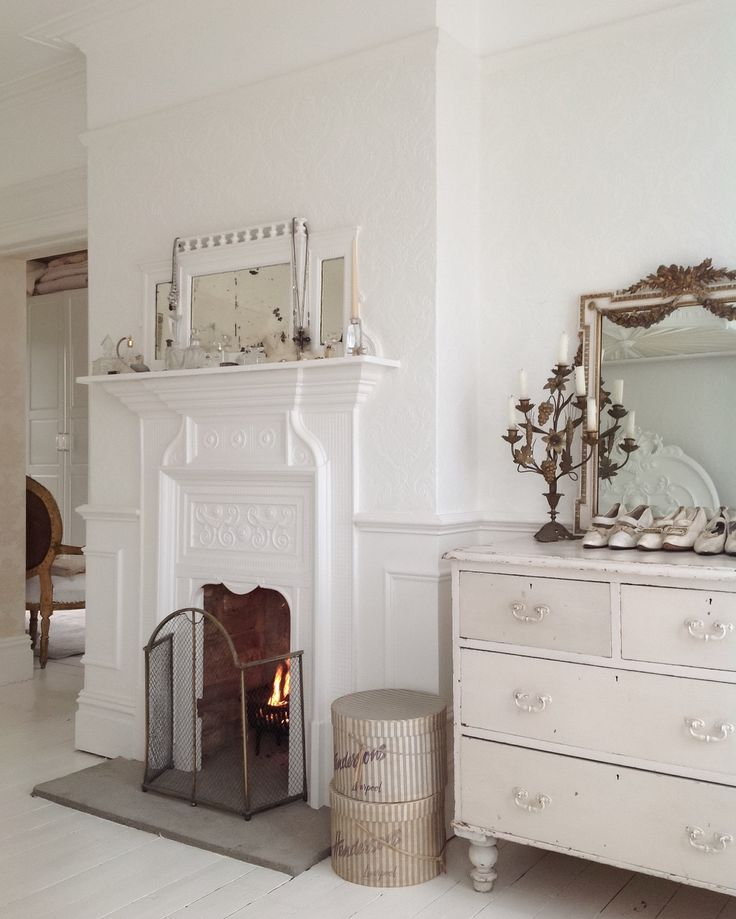 Fire place in the bedroom