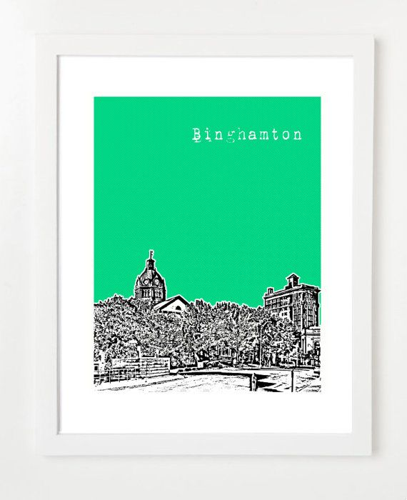 Binghamton Poster - Binghamton New York City Skyline Art Print - Binghamton Gifts    **OPTIONS**  1. Personalize / Add Wording: https://www.etsy.com/listing/152366808/personalized-skyline-make-your-skyline?    2. Discounted Multiple Prints (Sets of 3, 4, 5, 6): https://www.etsy.com/shop/BugsyAndSprite?section_id=11924922    3. Size Upgrades (11x14, 16x20) a) 11x14: https://www.etsy.com/listing/106226447/11x14-pick-your-print-and-color-11x14?ref=shop_home_active_3  b) 16x20…