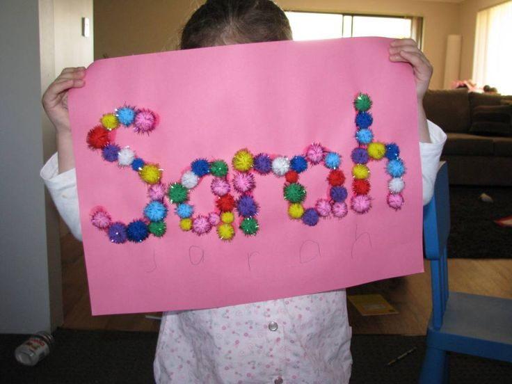 Making a name collage using pom poms is an activity that will help your child become interested in their name and the letters that make up their name.