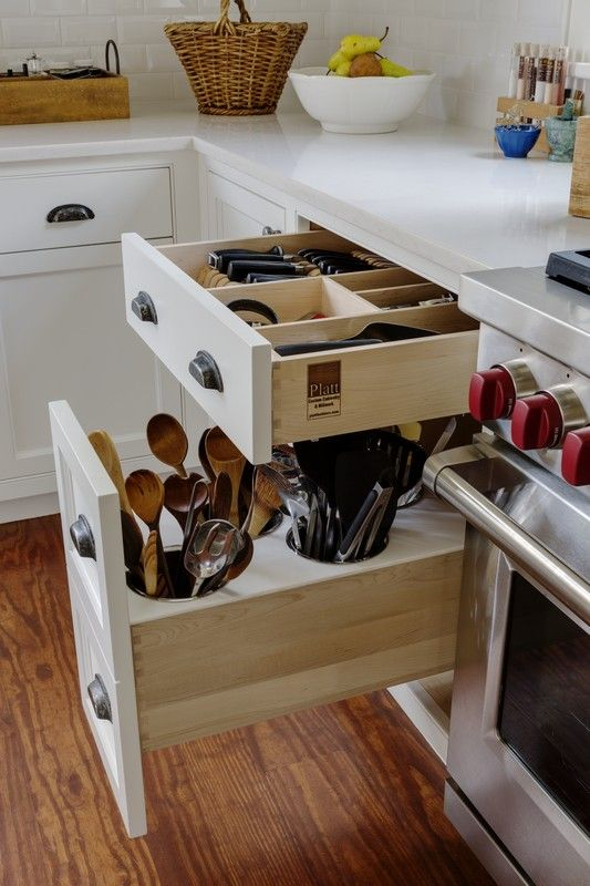Custom in-drawer knife block and utensil storage drawer in this Sudbury, MA kitchen remodel.