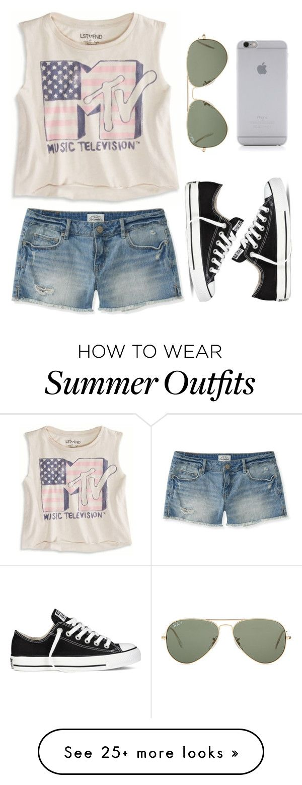 """Summer Casual"" by twaayy on Polyvore featuring American Eagle Outfitters, Aéropostale, Converse, Ray-Ban and Native Union"