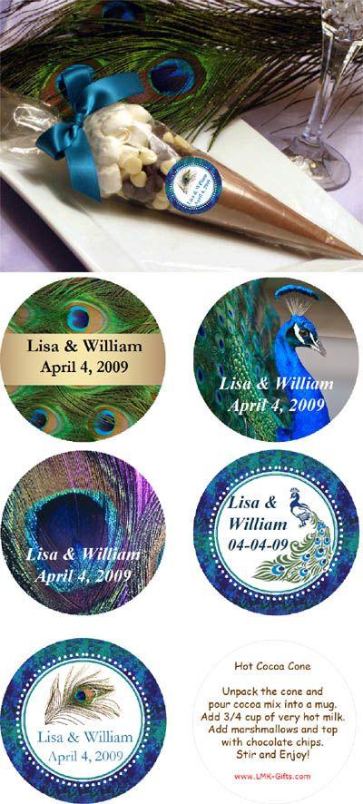 Peacock Wedding Favors | LMK Gifts Peacock Wedding hot cocoa cone favors