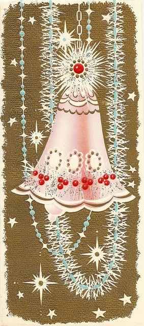 Retro Christmas Bell Greeting Card