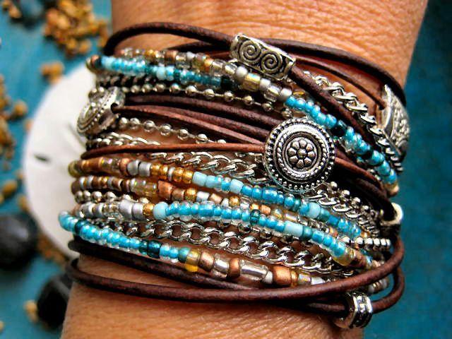 7 strands, big lobster claw, Miyuki metallic seed beads Boho Chic Endless Leather Wrap Bracelet. 3 wraps?