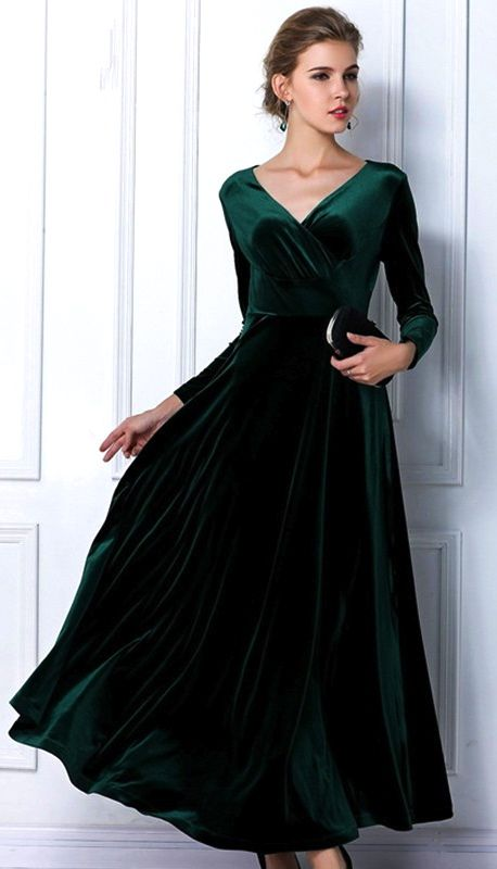 Emerald Green Velvet Dress idk where one wears this but it sure is pretty