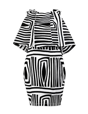 Black and White cape dress Look the business in this sassy and striking black & white print cape dress.