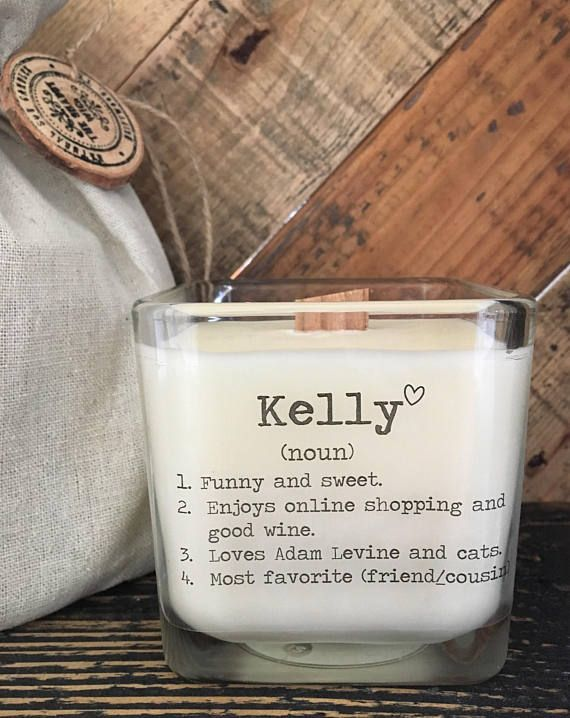 An elegant, soy candle with a special personalized name definition. This is a wonderful way to give your friend a personalized gift! 100% natural soy candle with wood wick, beautifully presented in a rustic gift bag. You can even add an optional from note on the back of the candle. TheShabbyWick delivers unparalleled customer service and quality. Take a moment to read our store reviews :) Friend gift. Gift for best friend. Boyfriend Gift. Girlfriend Gift. Special Gift.