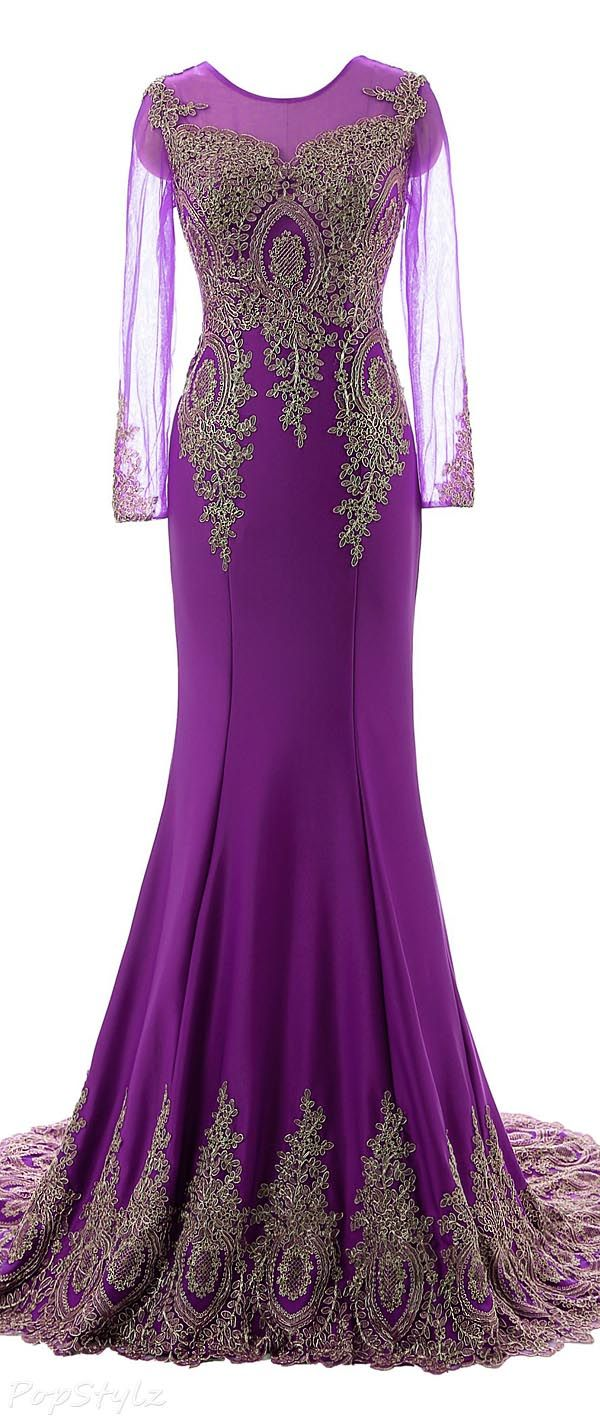 Gorgeous Appliqued Evening Gown