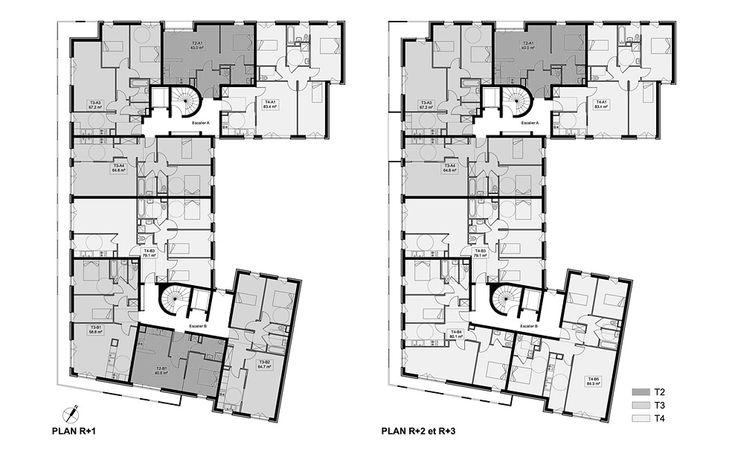 plans des tages 4 et 5 architecture logements l u o pinterest plans logement et la. Black Bedroom Furniture Sets. Home Design Ideas