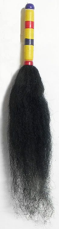 Black Chamor with Wooden Handle for Kali Puja Arti (Synthetic Hair))