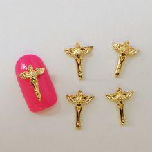 2015 Japan Neue Stil 100 teile/beutel 3D Nail art Dekoration Gold Engelsflügel Kreuz Geistige Nagellack Aufkleber Nagel Werkzeuge(China (Mainland))
