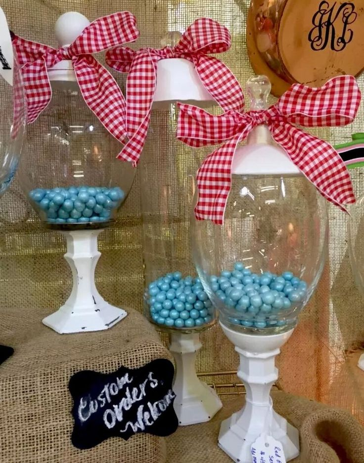 Gingham CANDY Jars Set Of 3 Apothecary Wedding Candy Bar Home Decor NEW