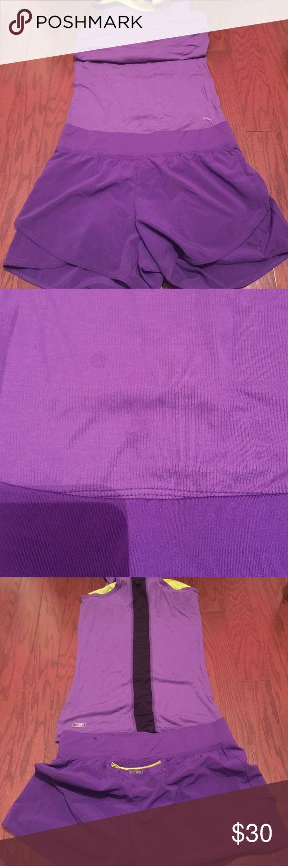 Puma Purple Trainer Puma Purple Trainer shorts size small top medium built in bra Puma Shorts