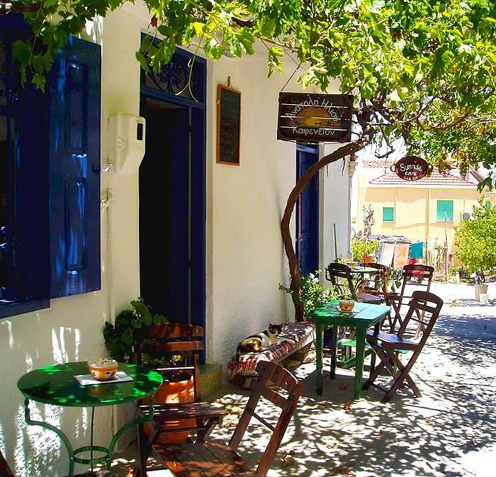 Lovely little cafe in Symi. Love the cat relaxing by the door :) .... www.facebook.com/IncroyableGrece?fref=photo