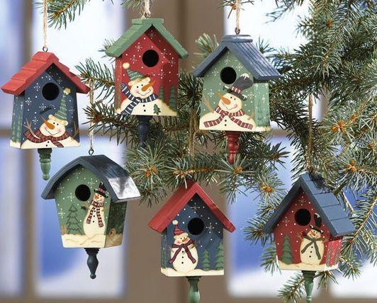 Country Bird Houses | Country Birdhouses W/ Snowmen Christmas Ornaments | christmas