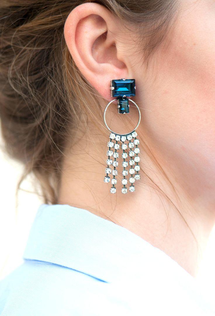 Blue Navy Earrings, Bridal Earrings, Blue Chandeliers, Blue Tassel Earrings,  Dark Blue
