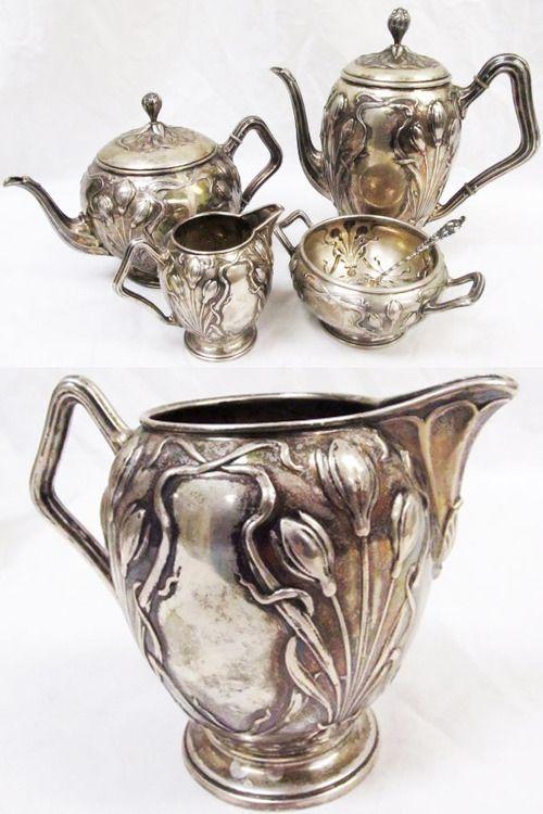 Posen .800 silver Art Nouveau/Jugendstil tea/coffee set, Germany