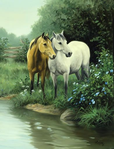 Linda Picken Art Studio / Gray and Buckskin Horses.jpg