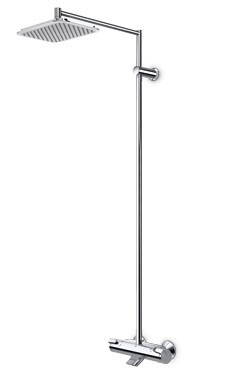 Oras Optima. Thermostatic rain shower faucet with easy-grip handles and a spout (7191U)