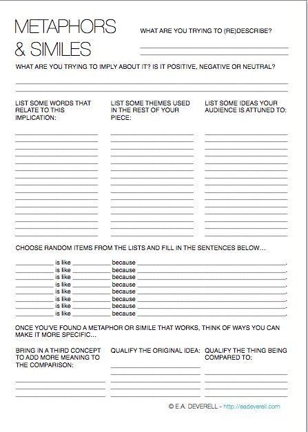 Metaphor And Simile Worksheet G S Writing Writing Worksheets