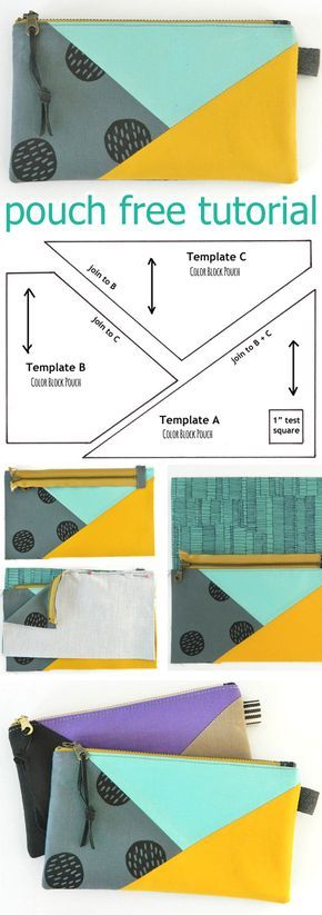 Color Block Pouch Free Tutorial DIY http://www.free-tutorial.net/2017/10/color-block-pouch-tutorial.html