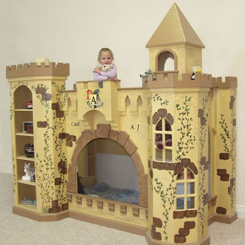 King Toliver Castle Bunk Bed  A fanciful faraway land that was previously just makebelieve awaits your little prince or princess in the King Toliver Castle Bunk Bed. Comes complete with regal turrets, whimisical hand painting with a crackle base for an aged look, windows and a bookcase.