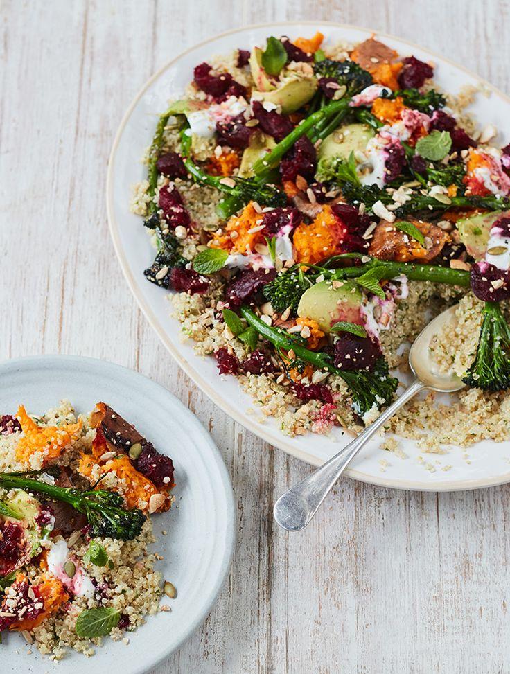 Sweet Potato, Quinoa & Avo Crunch Salad With Balsamic Beets & Broccolini
