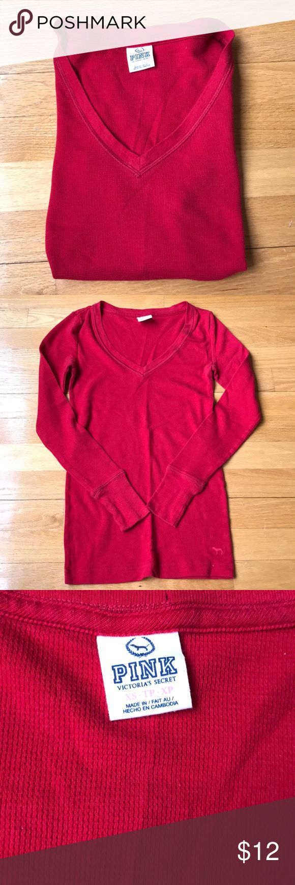 | VS PINK | Top Victoria's Secret red long sleeve top PINK Victoria's Secret Tops Tees - Long Sleeve