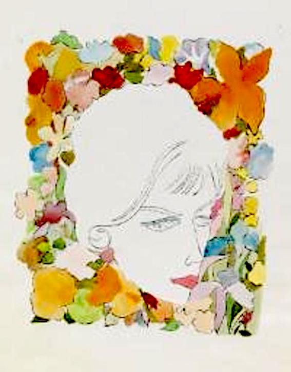 Andy Warhol - Head with Flowers 1958