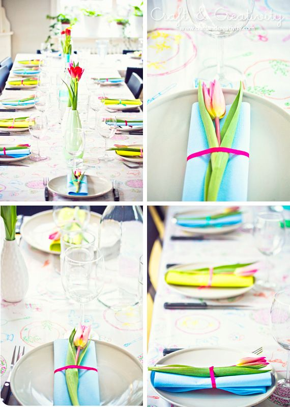 decorate a table setting with tulips