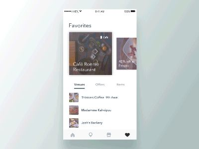 Swipe cards interaction by Valentin Salmon