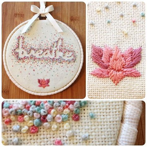 Negative space hoop art - BREATHE - French knots