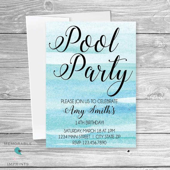 26 best sweet 16 invitations images on pinterest sweet sixteen pool party birthday invitation pool party teen birthday invitation teen birthday blue birthday invitation pool birthday printable filmwisefo Gallery