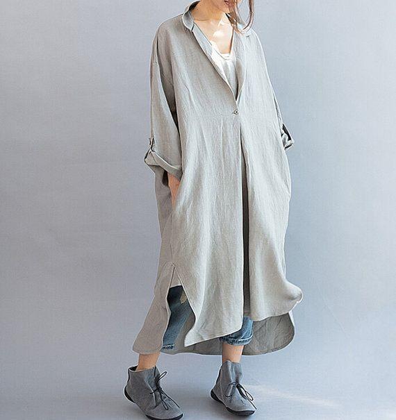 Las mujeres queda suelto, ropa larga vestido asimétrico gris Vestido de lino suelta de gran tamaño
