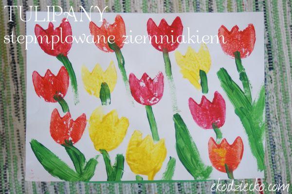 Tulipany wiosenna praca plastyczna stemplowanie ziemniakiem Spring tulips plastic art stamping potato kids