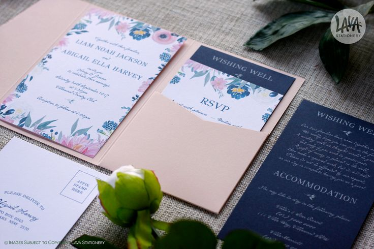 """Back to work and loving it. Here is the new """"Abigail"""" design, featuring a blush pink pocket and navy insert card with white ink printing.   •••  #blushpinkwedding #navyweddiing #pocketinvitations #pocketinvite #pocketinvites #rsvpcard #wishingwell #wishingwellcard #rsvppostcard #lavastationery #blushpink #whiteinkprinting #floralinvitations #floralinvites #floralinvitation #floralinvite #floraldetails #prettyinvites #prettyinvitations#whiteinkinvitations #whiteprinting #pinkandnavy…"""
