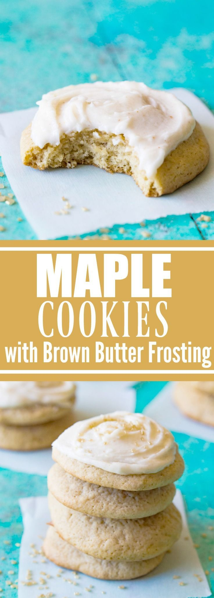 Maple Cookies with Brown Butter Frosting. These ultra soft bakery style cookies are made with real maple syrup and topped with a swirl of BROWN BUTTER frosting!