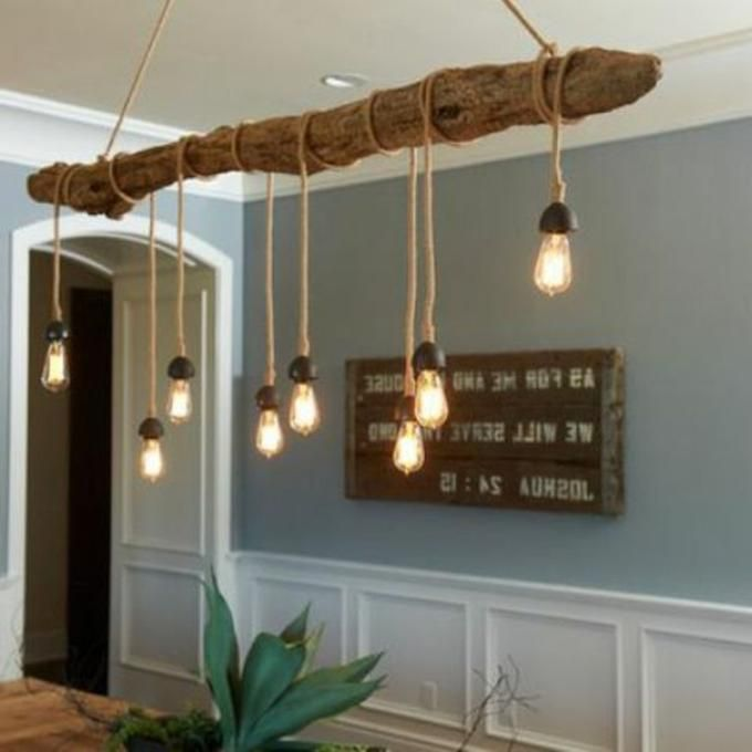 Cool lamp for the dining area. Driftwood with a few bulbs and ready :)