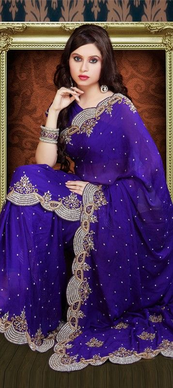 76376, Party Wear Sarees, Bridal Wedding Sarees, Jacquard, Zari, Stone, Purple and Violet Color Family