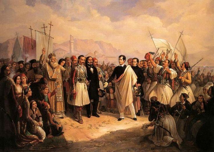 Theodoros Vryzakis, (1814-1878)  The reception of Lord Byron at Missolonghi