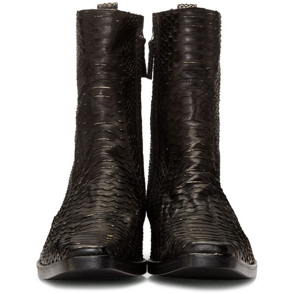 Haider Ackermann Black Python Boots (3,205 CAD) ❤ liked on Polyvore featuring men's fashion, men's shoes, men's boots, mens black square toe cowboy boots, mens python boots, mens zipper boots, mens zip boots and mens leather sole shoes