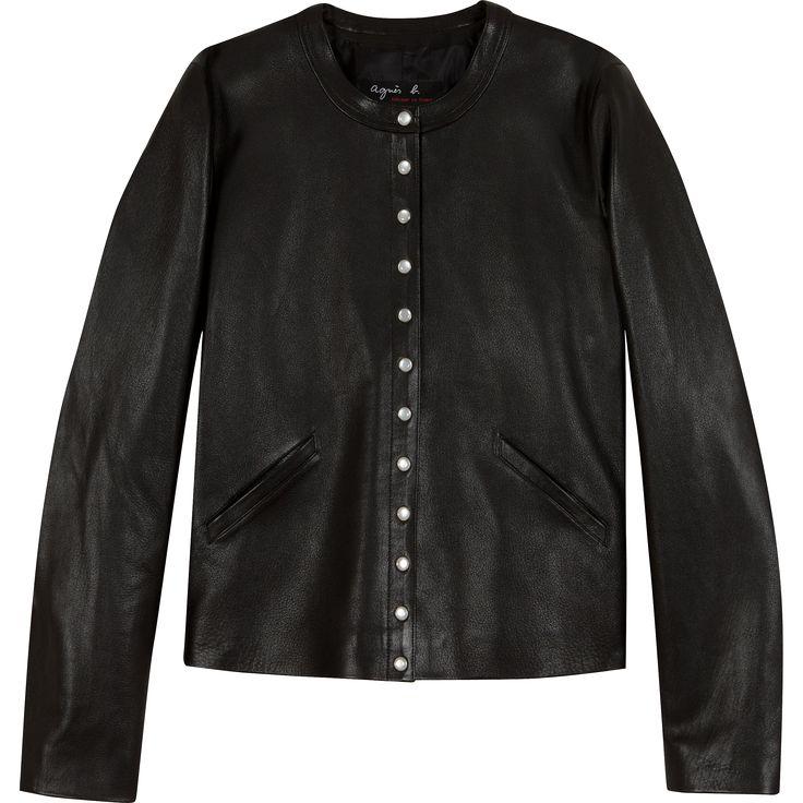 black leather snap cardigan