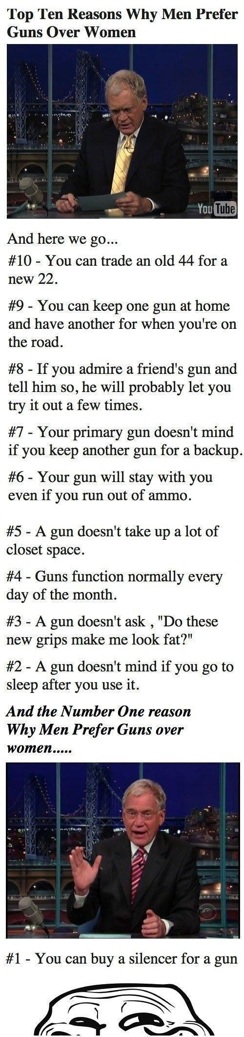10 reasons men prefer guns to women