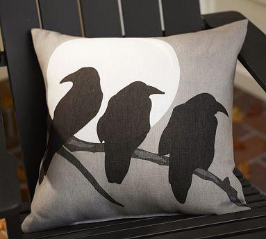 crow and moon pillow - Halloween Pillows