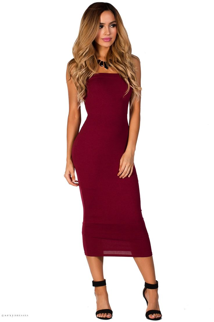 Bodycon Midi Length Tube Top Burgundy Strapless Dress