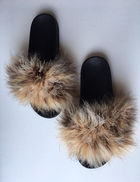840c4dbde7d Natural Fuzzy Fur Slides