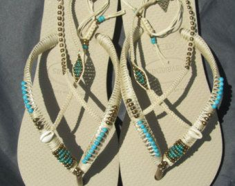Silver & Gold Havaianas Flip Flop, Boho Wedding Flats Shoes, Wedding Flip Flops, Boho Anklet Sandals - Foot Jewelry  Silver & Gold Bohemian Decorated Beaded Flip Flop sandals - 100% Handmade.  You can decorate your hands, ears, neck but also … your feet!  These are an absolutely unique Must Have Flip Flops!!! The combination between style and comfortable at the same pair of sandals.  By decorating I used professional jewelry techniques and the highest quality materials varying from ja...