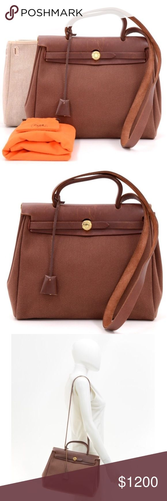 """Authentic Hermes Herbag PM 2 in 1 Two canvas bags: brown and beige. 11.8x9.1x4.7 & 11.8""""x9.8x4.7. Made in France. E stamp (2001). Gold hardware. Minor signs of use on leather, small stain inside beige bag. Dust bag, padlock, 2 keys included. Overall excellent condition. Hermes Bags Shoulder Bags"""