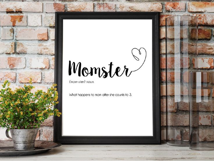 Mother's Day Gift for Momster, Personalised Mother's Day Print, Mother's Day Present, Gift For mum, definition Print, Momster Print by EveryoneNeedsAButton on Etsy